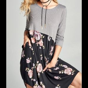Dresses & Skirts - Grey Striped with Black Floral Contrast Dress
